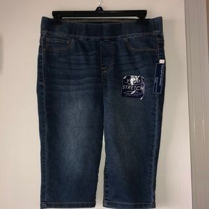 Denim Knee length, Pull-on stretch pants
